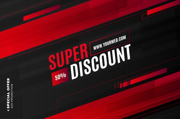 Super discount banner template with red shapes