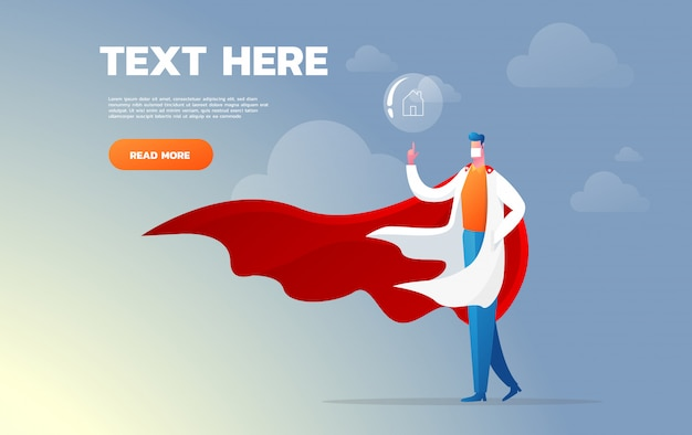 Super doctor. character healthcare concept - vector illustration. recommend to stay home.