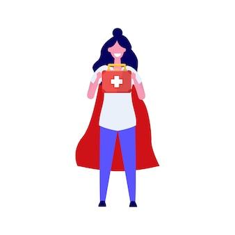Супер доктор персонаж. профессиональная иллюстрация в стиле.