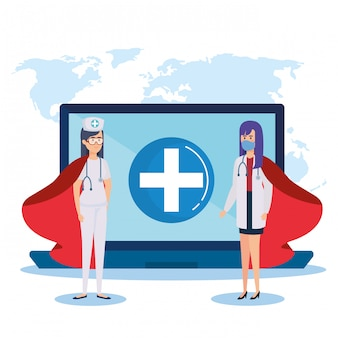 Super doctor female and nurse with hero cloak and laptop Premium Vector