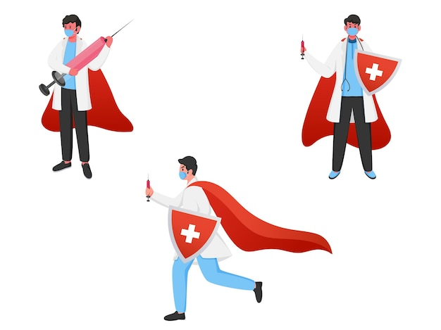 Super doctor men wear medical mask with security shield and vaccine syringe on white background.