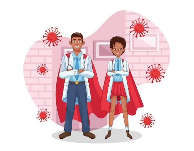 Супер врачи пара афро с плащом героя против covid19