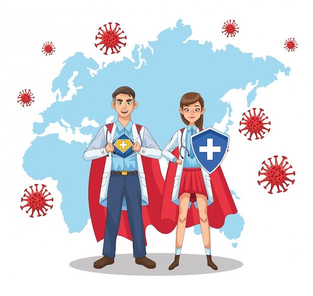 Супер врачи соединяются с героем плаща и щита против covid19