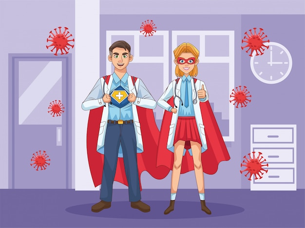 Супер врачи пара с плащ героя против covid19