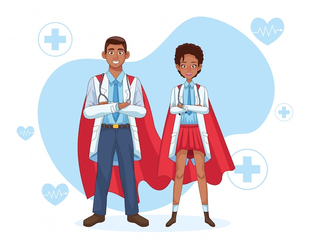 Супер врачи пара с героем плаща