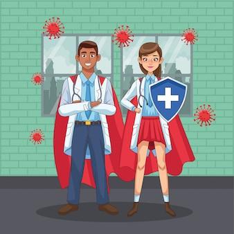 Супер врачи межрасовые пары с героем плащ против covid19 векторные иллюстрации дизайн