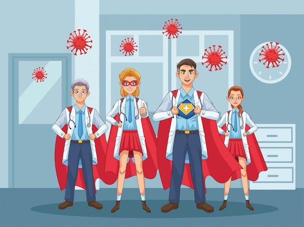 Супер врачи с плащом героя против covid19