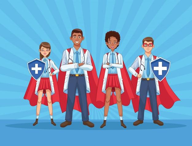 Супер врачи с плащами и щитами