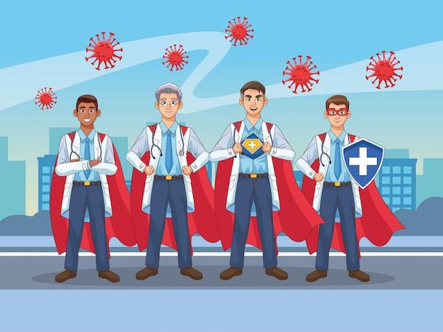 Супер врачи с геройским плащом и щитом против covid19