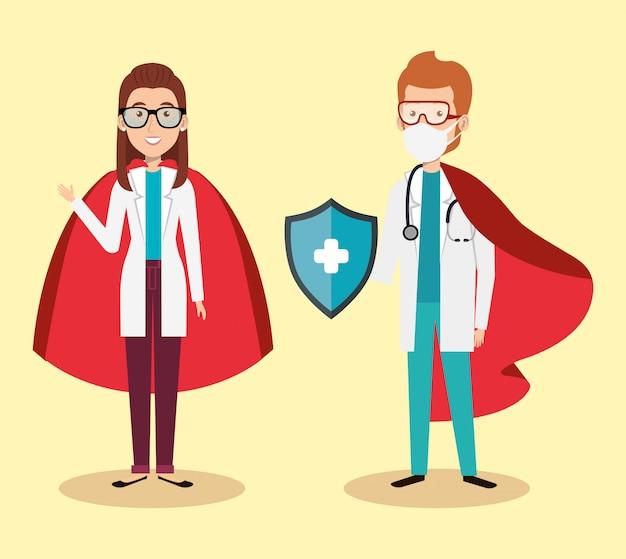 Супер врачи с геройским плащом и щитом