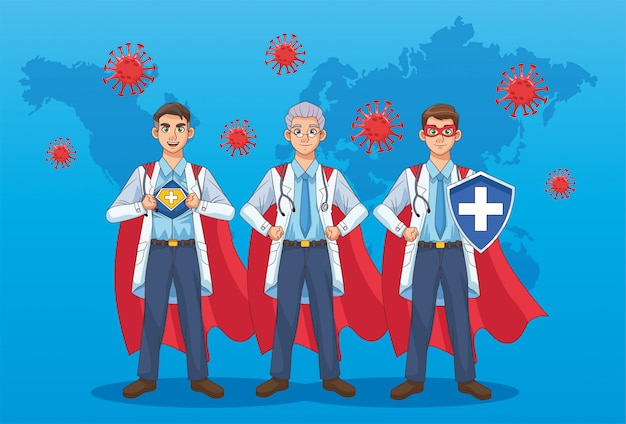 Super doctors with hero cloak and shield vs covid19