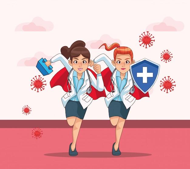 Супер врачи женщин против covid19 по городу