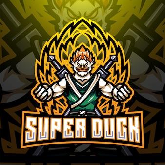 Super duck esport mascot logo design