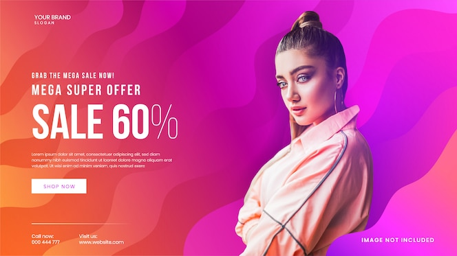 Super exclusive mega fashion sale web banner  template