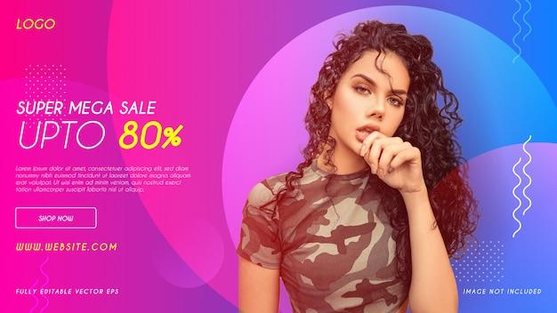 Super exclusive mega fashion sale web banner  template