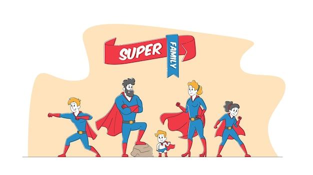 スーパーファミリーコンセプト。スーパーヒーローの衣装でポーズをとるママ、パパ、子供たち