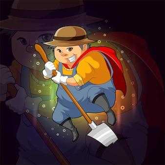 The super farmer with the shovel for esport logo design of illustration