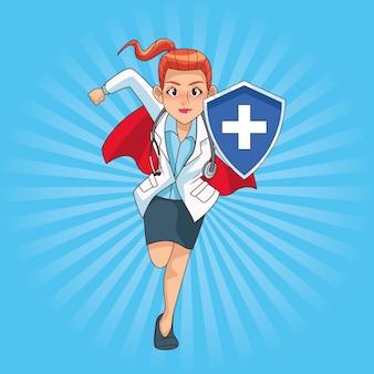 Супер женский доктор работает с щитом