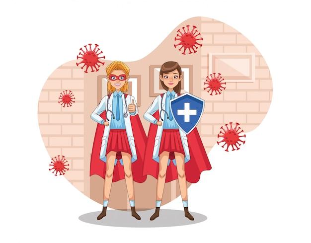 Супер женщины-врачи с героем плаща и щита против covid19