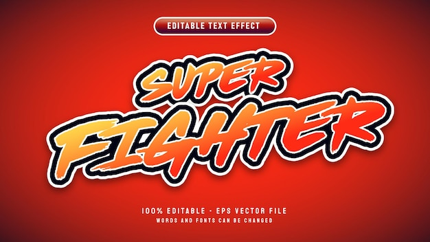 Super fighter editable text effect with 3d cartoon style vector illustration template
