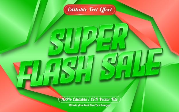 Редактируемый текстовый эффект super flash sale с абстрактным фоном