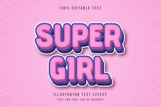 슈퍼 걸, 3d 편집 가능한 텍스트 효과 핑크 그라데이션 블루 만화 스타일 프리미엄 벡터