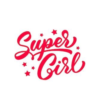 슈퍼걸은 티셔츠 디자인을 위해 손으로 글자를 그렸습니다. 필기 스타일의 트렌디한 빨간색 텍스트입니다. 옷 디자인을 위한 슈퍼걸 슬로건.