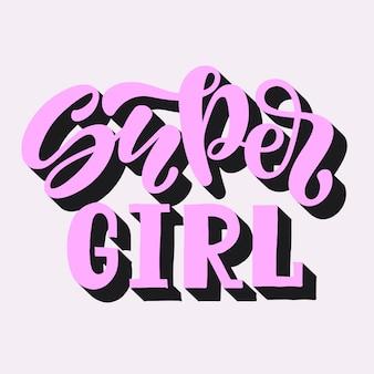 Векторная иллюстрация текста super girl для одежды. детский значок метки.