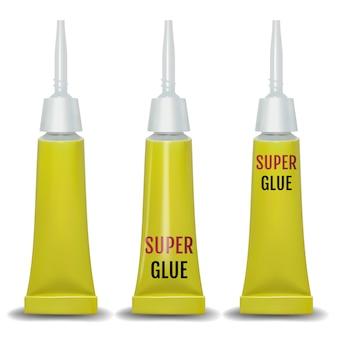 Super glue. 3d realistic metallic container glue .
