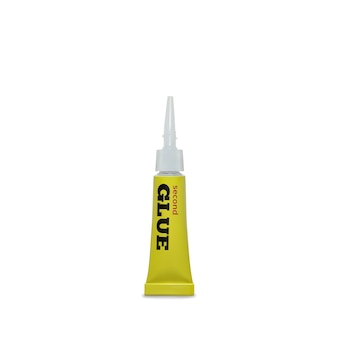 Super glue illustration of 3d realistic yellow metallic container of adhesive instant