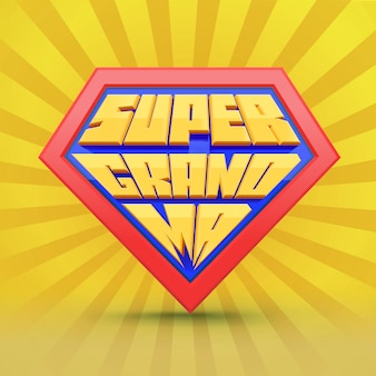 Super grand mom. grandmother logo. grandmother day concept. grandma superhero. national grandparents day. elderly people. fun typography.