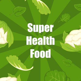 Super healthy food, eating and dieting vector