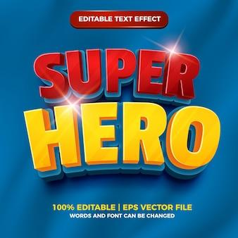 슈퍼 영웅 3d 편집 가능한 텍스트 효과 만화 만화 스타일