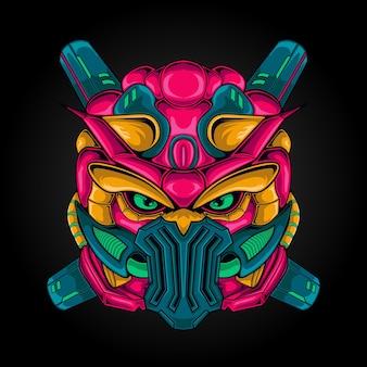 Super hero armor robot head illustration