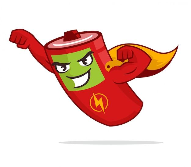 Super hero battery mascot flying