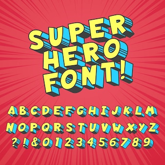 Super hero comics font. comic graphic typography, funny supers heros alphabet and creative fonts letters symbol set
