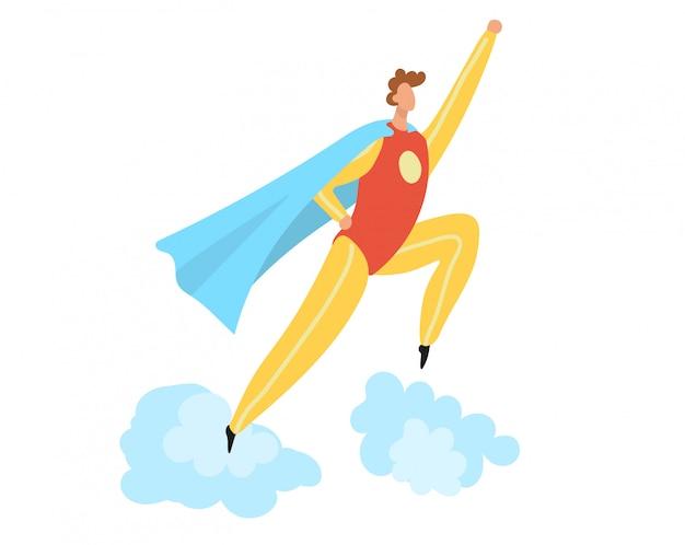 スーパーヒーローコスチュームフラット漫画イラスト白で隔離され、スーパーヒーローの男性キャラクターが雲にジャンプします。