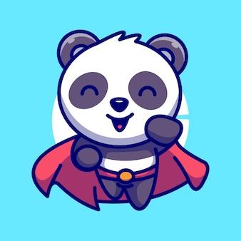 Супер герой милая панда флаг векторные иллюстрации мультфильм значок