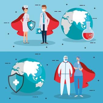 Супер герои врачи борются с вирусом