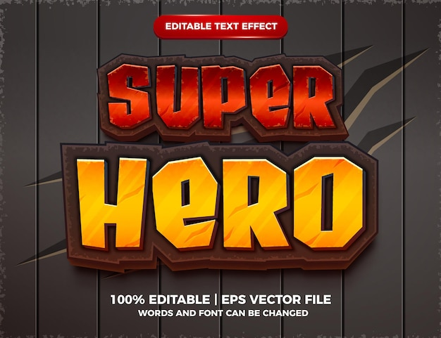 Super hero editable text effect 3d cartoon game template style