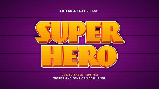Редактируемый текстовый эффект супергероя в современном 3d стиле