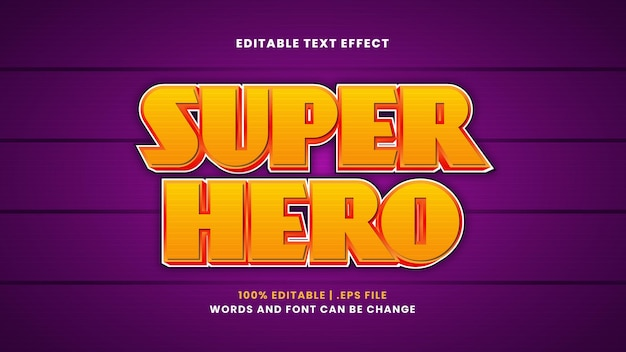Super hero editable text effect in modern 3d style