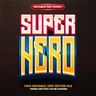 Super hero esport team logo 3d editable text effect Premium Vector