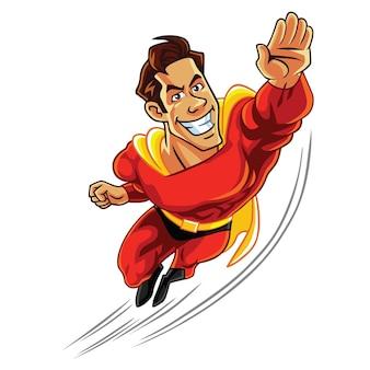 Супер герой, летающий с мускулистым телом, мультипликационный персонаж, дизайн вектор