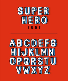 Super hero font lettering with alphabet on red background design, typography retro and comic theme