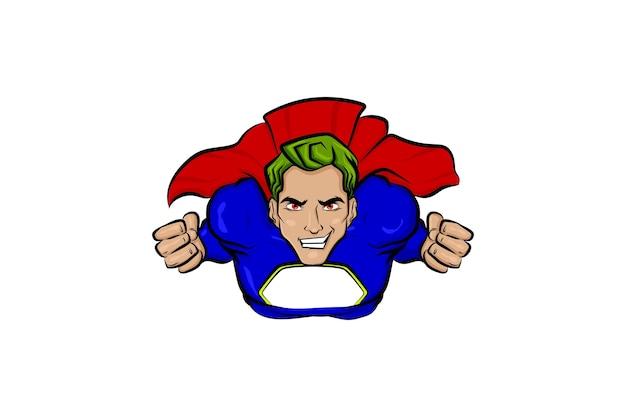 만화 만화 책 스타일의 슈퍼 영웅 녹색 머리 남자 팝 아트 비행 슈퍼 히어로 벡터