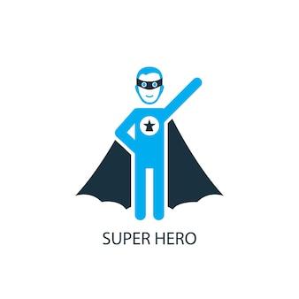 スーパーヒーローのアイコン。ロゴ要素の図。 2色のコレクションからのスーパーヒーローのシンボルデザイン。シンプルなスーパーヒーローのコンセプト。 webおよびモバイルで使用できます。