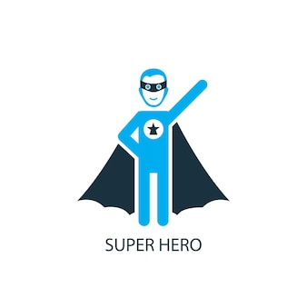 Super hero icon. logo element illustration. super hero symbol design from 2 colored collection. simple super hero concept. can be used in web and mobile.