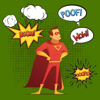 Super hero in red costume, composition with sound and emotion bubbles green background comic style