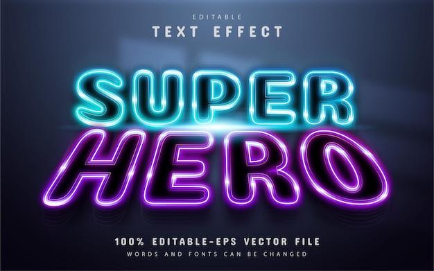 Super hero text effect neon style